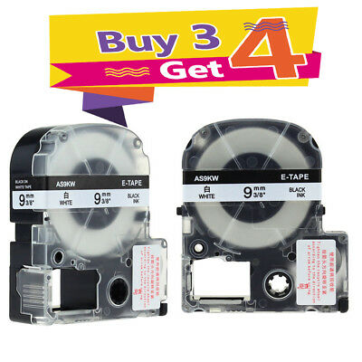 AS9KW Compatible for Epson K-Sun Label Works Label Tape Black on White 9mm 3/8