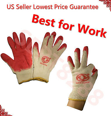 Max Catch 240 Pairs Platinum Red Work Safety Gloves Latex Palm Coat Fit & Tight