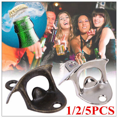 1/2/5X Retro Wall Mounted Bottle Opener Vintage Beer Wine Open Tool Home Bar wh