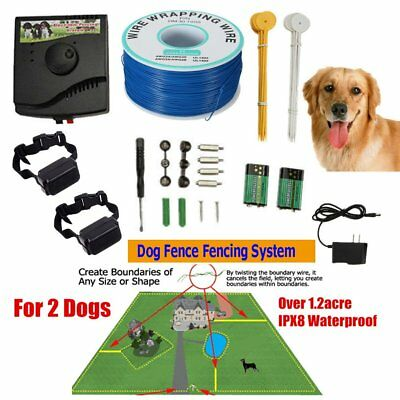 Waterproof Wireless In-Ground Pet Dog Fence System 2 Shock Collars For 2 Dogs HX