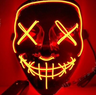 Halloween Maske Cosplay LED Glühend leuchtet Flash EL Wire Horror Party 980