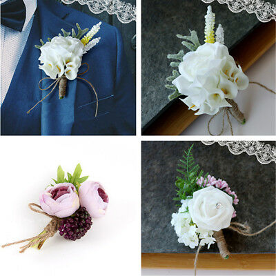 1 / 2pc Groomsman Men/Women Corsage Flower Brooch Groom Boutonniere Wedding Gift