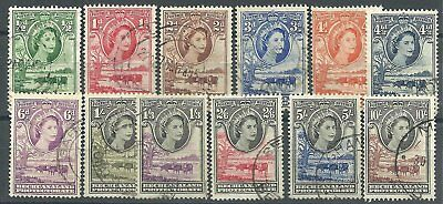 (190) Bechuanaland 1955 QE def's very fine used set