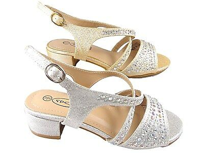 Girls Block  low Heel sandal Spot on Diamante buckel shoes Silver and Champagne