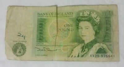 BANK OF ENGLAND 1 POUND NOTE D.H.F Somerset 1980-1984 FAIR CONDITION / AD 4