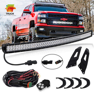 """54""""inch Curved LED Light Bar + Roof Upper Mount Brackets For Chevy/GMC Silverado"""