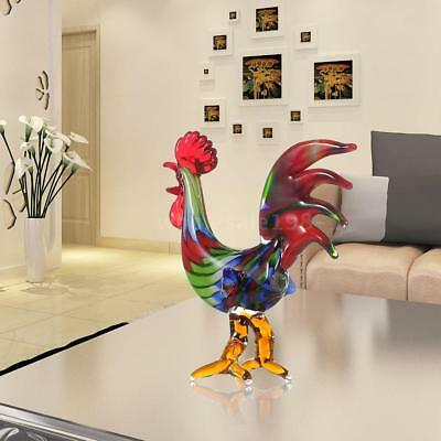 Tooarts Colorful Rooster Glass Sculpture Home Decor Animal Ornament Gift X0C6