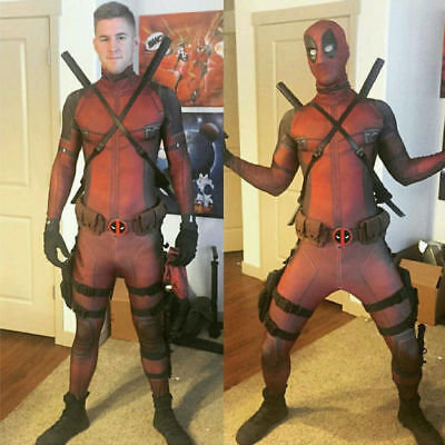 Lycra Spandex Full Body Deadpool Avengers Cosplay Costume Complete Outfit AU zr