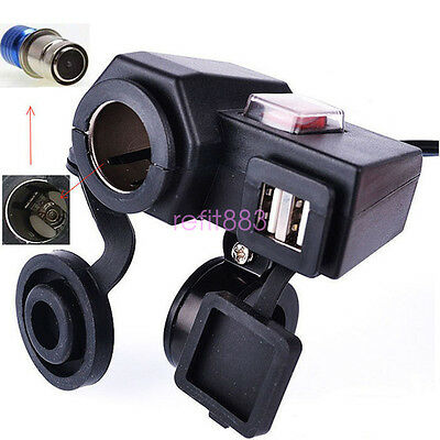 12V Motorcycle Cigarette Lighter Dual USB Charger Power Adapter Waterproof US