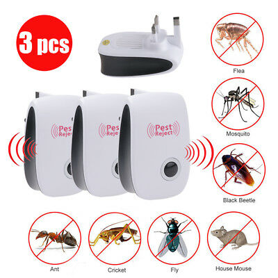 3 X Whole House Pest Control Repeller Reject Rat Mouse Mice Spider UK Plug In