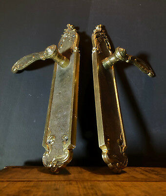 Pair (2) Vintage Brass Decorative Lever  Door Handles / Gold