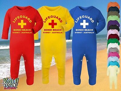 LIFEGUARD Rescue Baby Grow ROMPER Sleep Suit Surf Surfer Baywatch Beach Party