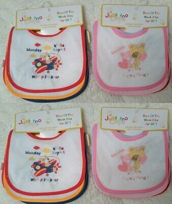 Baby Dribble Bibs Pack Of 7 Days Of The Week Waterproof Back Animals 0-6 Months