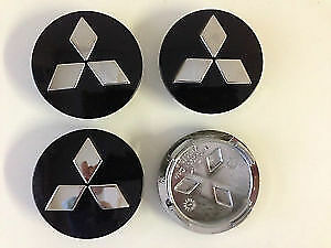 60mm MITSUBISHI black CHROME ALLOY WHEEL CENTRE CAPS  LANCER EVO   OUTLANDER