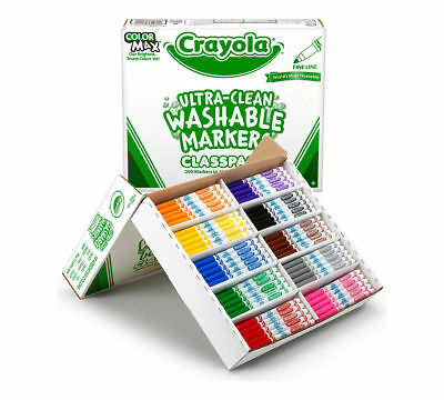 Crayola 200 Count Ultra Clean Washable Fine Line Markers Classpack, 10 Colors