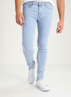 New Mens Super Skinny Fit Jeans Stretch Light Blue Wash Look