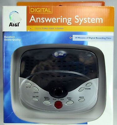 New At&t Model 1722 Digital Answering System Time Day Stamp (Black & Silver)