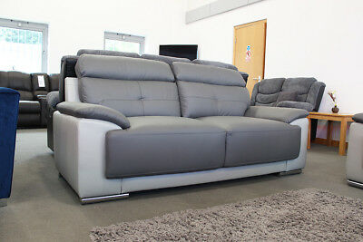 LINDEN 3 + 2 Seater Two-Tone Dark Grey Leather Sofas CLEARANCE BRAND NEW