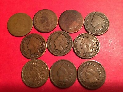 US Indian Head Cent Lot, 10 coins, 1880 to 1907, 10 different dates, lotG504