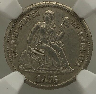 1876cc Seated Liberty Dime UNC NGC Slabbed Cleaned Carson City Mint Coin