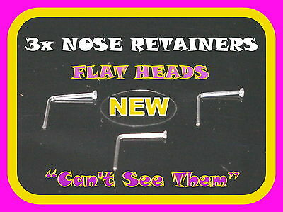 3 Clear Nose Stud/Ring  Retainers-THIN,Flat Top   NO SEE  NO PAIN