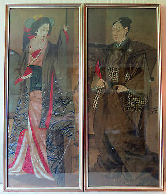 A pair of Japanese silk paintings dating back from the late 19th century