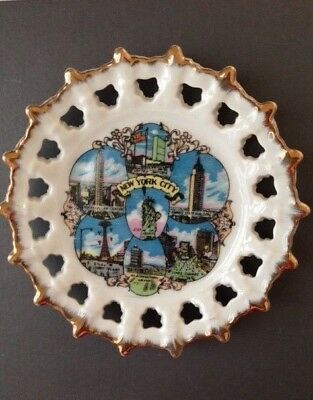 Vintage New York City Statue of Liberty Coney Island Empire State Souvenir Plate