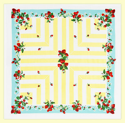 Strawberry Lane 100% Cotton Tablecloth by Red and White Kitchen Company