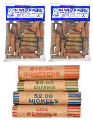72 Rolls Preformed Assorted Coin Wrappers Tubes Pennies Nickels Dimes Quarters!