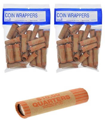 72 Rolls Preformed Coin Roll Wrappers Tubes For Quarters 36ct Each Bag FREE SHIP