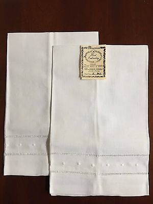 Swiss Dots/Hemstitch Irish Linen Guest Towels, Hand Embroidery, (Set of 2):G8648
