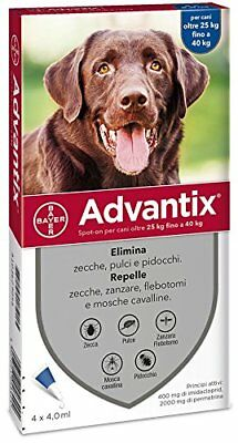 advantix Bayer 4484286, Spot-on Per Cani Oltre 25 kg fino a 40 kg, 4 x 4 ml