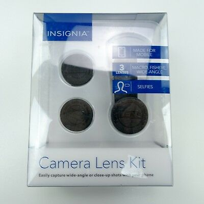 Insignia- Phone Camera 3 Lens Kit Fish-eye Marco Wide-angle fits iPhone S8 S9