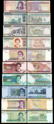 Full Set of 10Pcs Middle East Paper Money 100 to 10000 Rials,Uncirculated