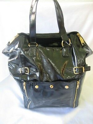 aaa633d59f4 Ysl Yves Saint Laurant Downtown Black Patent Leather Large Tote Handbag