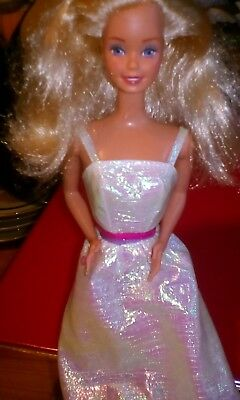 Vintage Barbie Doll Wearing Chrystal Dress In Very Good Condition