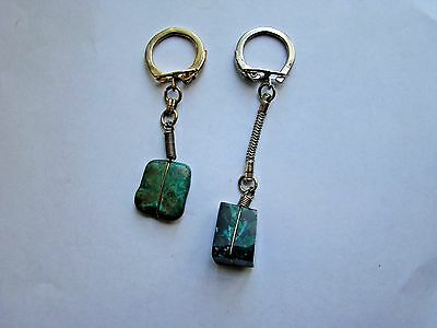 Vintage Pair of Jade Key Chains Chrome and Brass Color Excellent