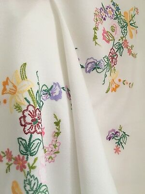 Vintage Hand Embroidered, Square Tablecloth. Flowers, Floral, Multicolours