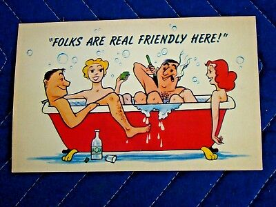 Naked Couples in Bathtub Folks Are Real Friendly Here Comic Vintage Postcard