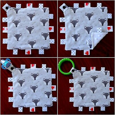 Grey Fox Mini Size TaGgie Taggy Tag Blanket Toy comforter Dummy clip Holder