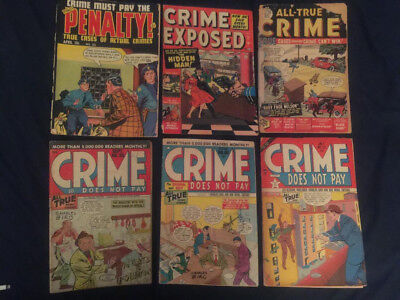 Lot of 6 Golden Age CRIME COMICS: CRIME DOES NOT PAY, CRIME MUST PAY THE PENALTY