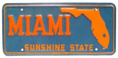 Vintage Miami Florida 1960s Embossed Booster License Plate NOS Nice Quality Sign