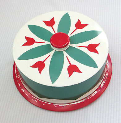 Vintage Cake Carrier Tin Litho Small Plate Tulip Design Red Green 1950s Mid-Cent