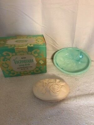 Vintage Avon Green Milk Glass Victoriana Soap Dish and Moonwind Soap In Orig Box