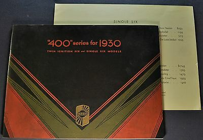 1930 Nash 400 Prestige Brochure + Prices Single, Twin Six (6) Excellent Original