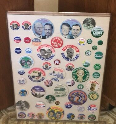 54 Political Pinback Button Pins in Case Jimmy Carter Gerald Ford Ross Perot