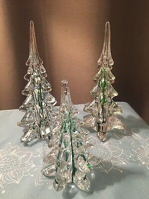 Christmas Trees(3) Solid Glass With Green Accents