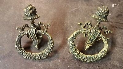 Antique SOLID BRASS DRAWER PULL Lot of 2 Ornate Pulls Cabinet Door Knobs c.19th?