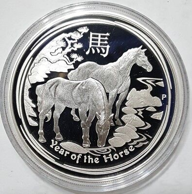 2014 1 Oz PROOF Silver YEAR OF THE HORSE - Australian Lunar Series II Coin.