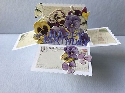 Handmade birthday card pansy flower box pop up Card 3D sister friend mother wife